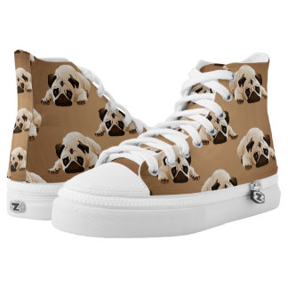Pugs on Brown Background High-Top Sneakers