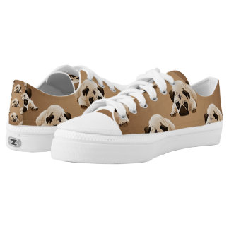 Pugs on Brown Background Printed Shoes