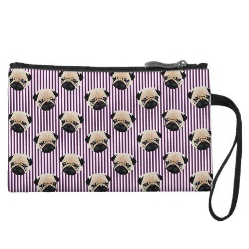 Pugs on Deep Purple Stripes Wristlet Purses
