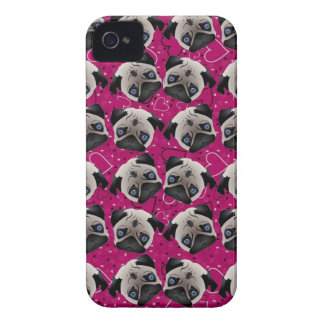 Pugs on Grunge Hearts Case-Mate iPhone 4 Case