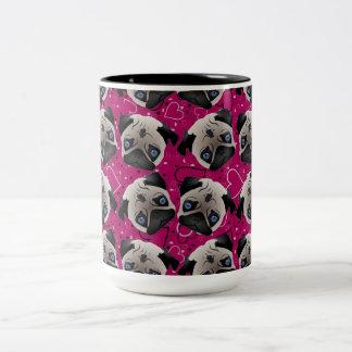 Pugs on Grunge Hearts Two-Tone Coffee Mug