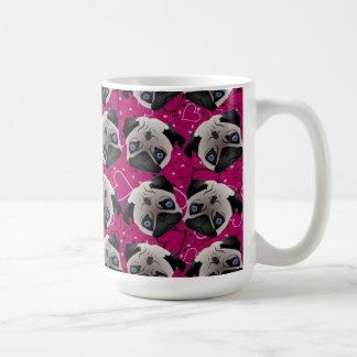 Pugs on Grunge Hearts Classic White Coffee Mug