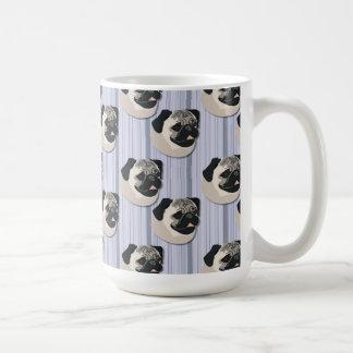 Pugs on Pastel Gradient Blue Stripes Classic White Coffee Mug