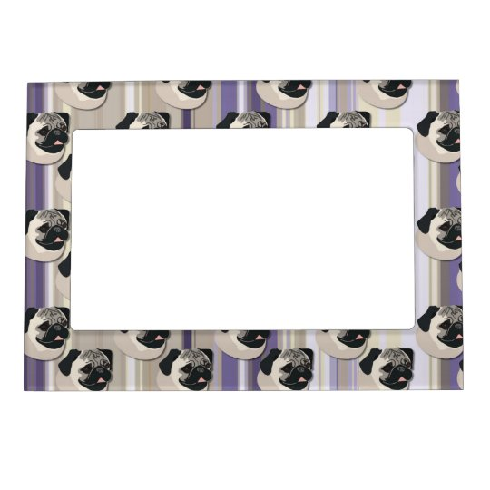 Pugs on Pastel Khaki and Purple Gradient Stripes Magnetic Picture Frame