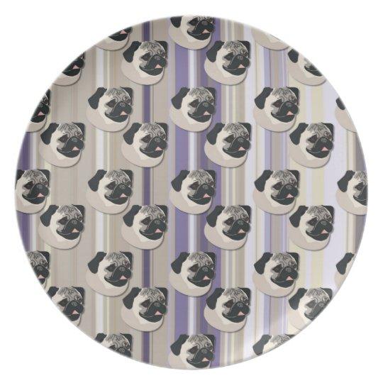 Pugs on Pastel Khaki and Purple Gradient Stripes Melamine Plate