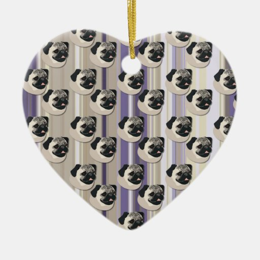Pugs on Pastel Khaki and Purple Gradient Stripes Double-Sided Heart Ceramic Christmas Ornament