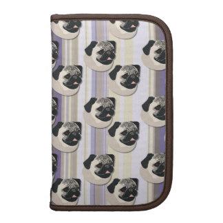 Pugs on Pastel Khaki and Purple Gradient Stripes Folio Planners
