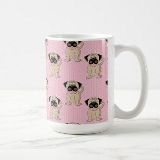 Pugs on Pink Dots Classic White Coffee Mug