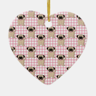 Pugs on Pink Gingham Ceramic Ornament