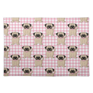Pugs on Pink Gingham Cloth Placemat