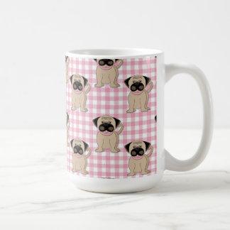 Pugs on Pink Gingham Coffee Mug