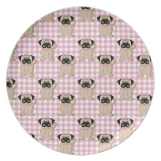 Pugs on Pink Gingham Dinner Plate