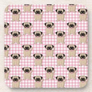 Pugs on Pink Gingham Drink Coaster
