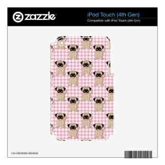 Pugs on Pink Gingham iPod Touch 4G Decal