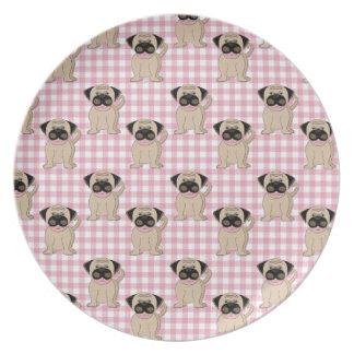 Pugs on Pink Gingham Melamine Plate
