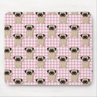 Pugs on Pink Gingham Mouse Pad