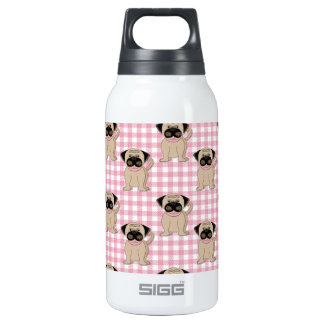 Pugs on Pink Gingham Thermos Water Bottle