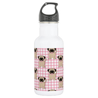 Pugs on Pink Gingham Water Bottle