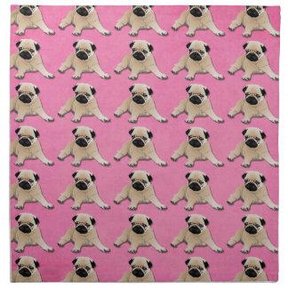 Pugs on Pink Napkin