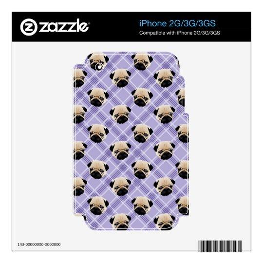 Pugs on Purple Plaid Skins For iPhone 2G