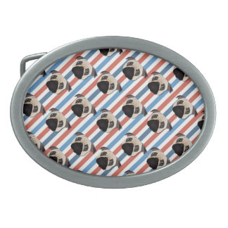 Pugs on Red, White and Blue Diagonal Stripes Oval Belt Buckle