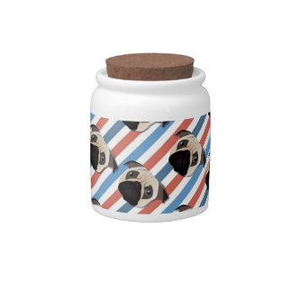 Pugs on Red, White and Blue Diagonal Stripes Candy Dishes
