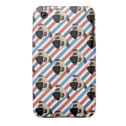 Pugs on Red, White and Blue Diagonal Stripes iPhone 3 Cases