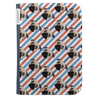 Pugs on Red, White and Blue Diagonal Stripes Kindle Cover