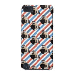 Pugs on Red, White and Blue Diagonal Stripes iPod Touch (5th Generation) Covers