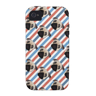 Pugs on Red, White and Blue Diagonal Stripes iPhone 4/4S Cover