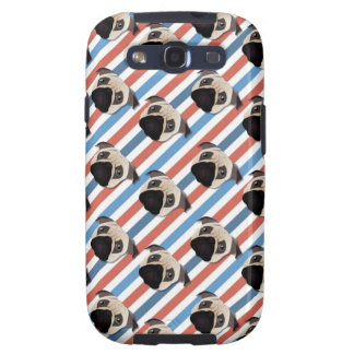 Pugs on Red, White and Blue Diagonal Stripes Galaxy SIII Case