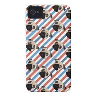 Pugs on Red, White and Blue Diagonal Stripes iPhone 4 Cases