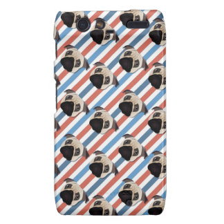 Pugs on Red, White and Blue Diagonal Stripes Droid RAZR Cover