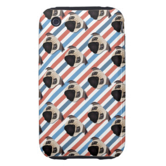 Pugs on Red, White and Blue Diagonal Stripes Tough iPhone 3 Cases