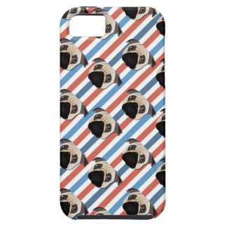 Pugs on Red, White and Blue Diagonal Stripes iPhone 5 Cover