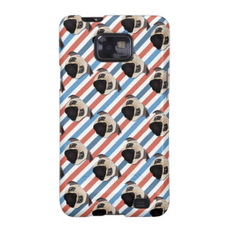 Pugs on Red, White and Blue Diagonal Stripes Samsung Galaxy S2 Case
