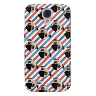 Pugs on Red, White and Blue Diagonal Stripes Galaxy S4 Covers