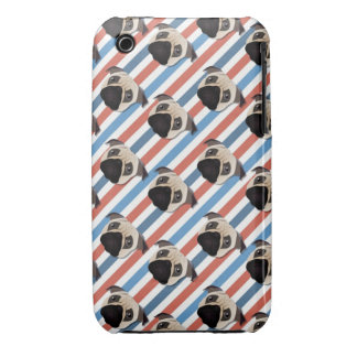 Pugs on Red, White and Blue Diagonal Stripes iPhone 3 Case-Mate Cases