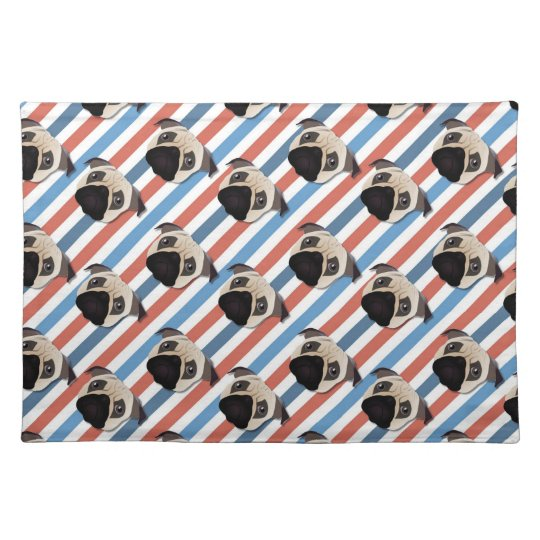 Pugs on Red, White and Blue Diagonal Stripes Cloth Placemat