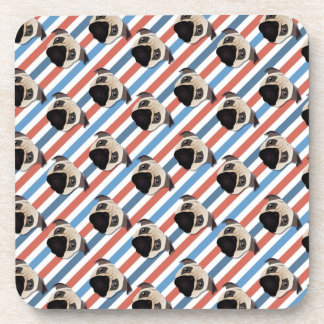 Pugs on Red, White and Blue Diagonal Stripes Drink Coasters