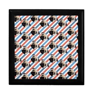 Pugs on Red, White and Blue Diagonal Stripes Keepsake Boxes