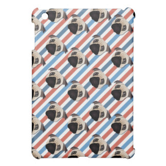 Pugs on Red, White and Blue Diagonal Stripes iPad Mini Cases