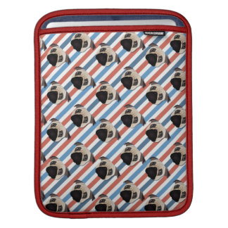 Pugs on Red, White and Blue Diagonal Stripes MacBook Sleeve