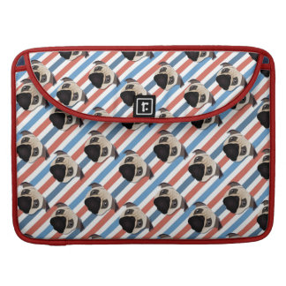 Pugs on Red, White and Blue Diagonal Stripes Sleeve For MacBooks