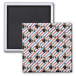 Pugs on Red, White and Blue Diagonal Stripes Fridge Magnet