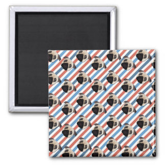 Pugs on Red, White and Blue Diagonal Stripes Magnet