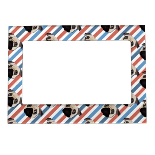 Pugs on Red, White and Blue Diagonal Stripes Magnetic Photo Frames