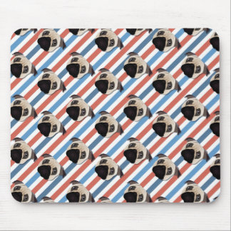 Pugs on Red, White and Blue Diagonal Stripes Mouse Pads