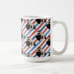 Pugs on Red, White and Blue Diagonal Stripes Coffee Mug
