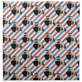 Pugs on Red, White and Blue Diagonal Stripes Printed Napkins